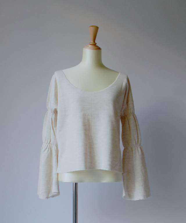 MALION vintage MILITARY CUT-OFF L/S ivory