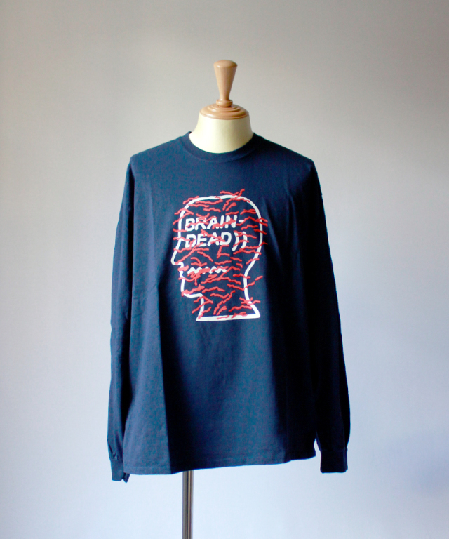 BRAIN-DEAD INFECTED LOGO LONG SLEEVE navy