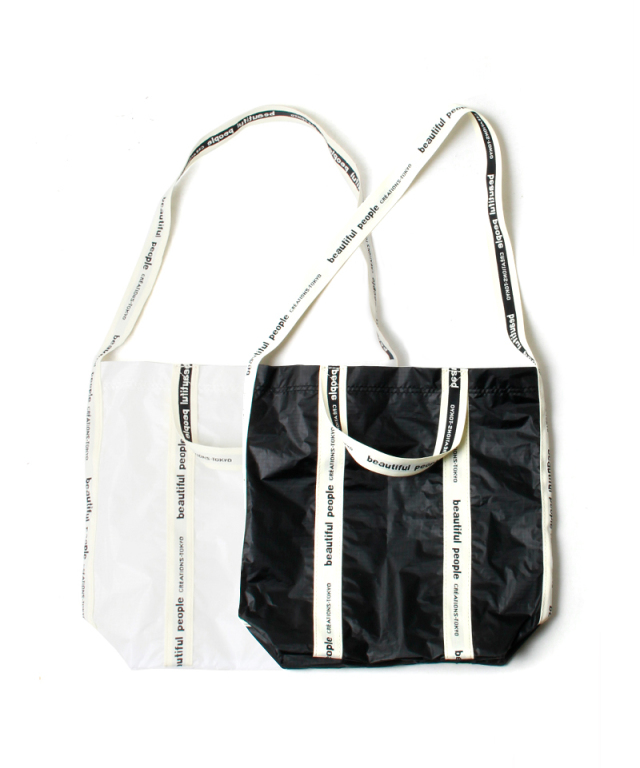beautiful people SAIL CLOTH LOGO TAPE SHOULDER BAG white