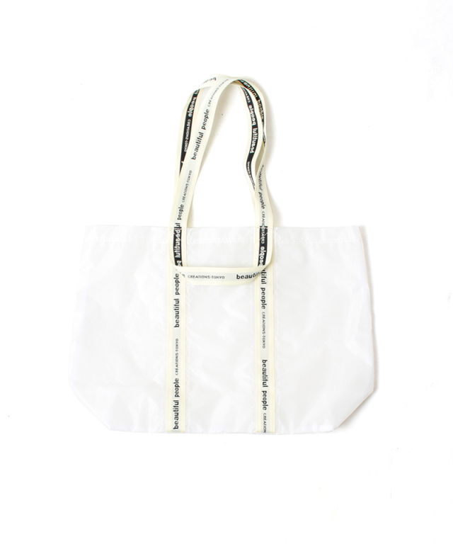 beautiful people SAIL CLOTH LOGO TAPE TOTE