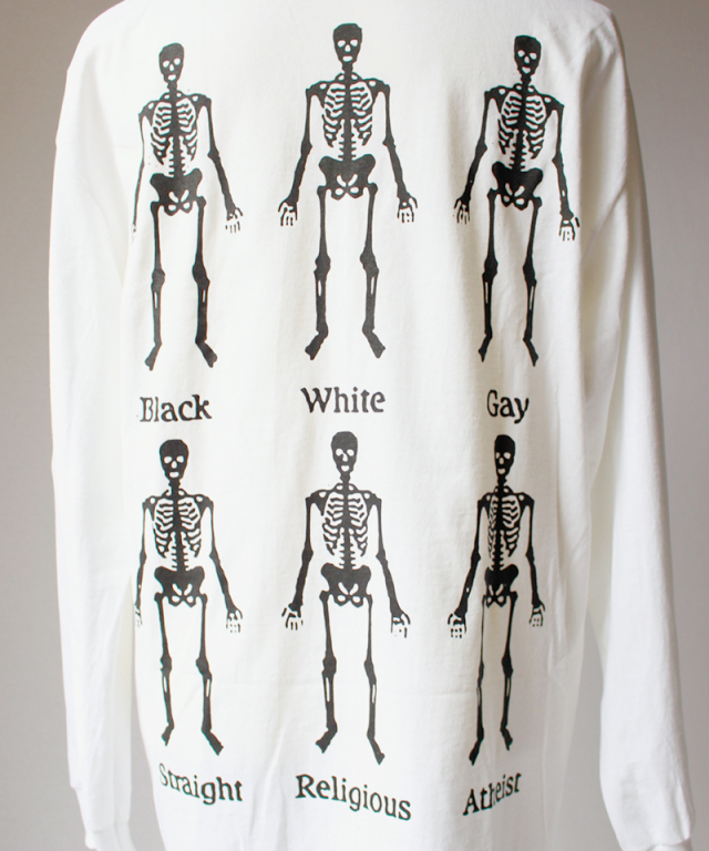 PLEASURES BONES LONG SLEEVE T-SHIRT white
