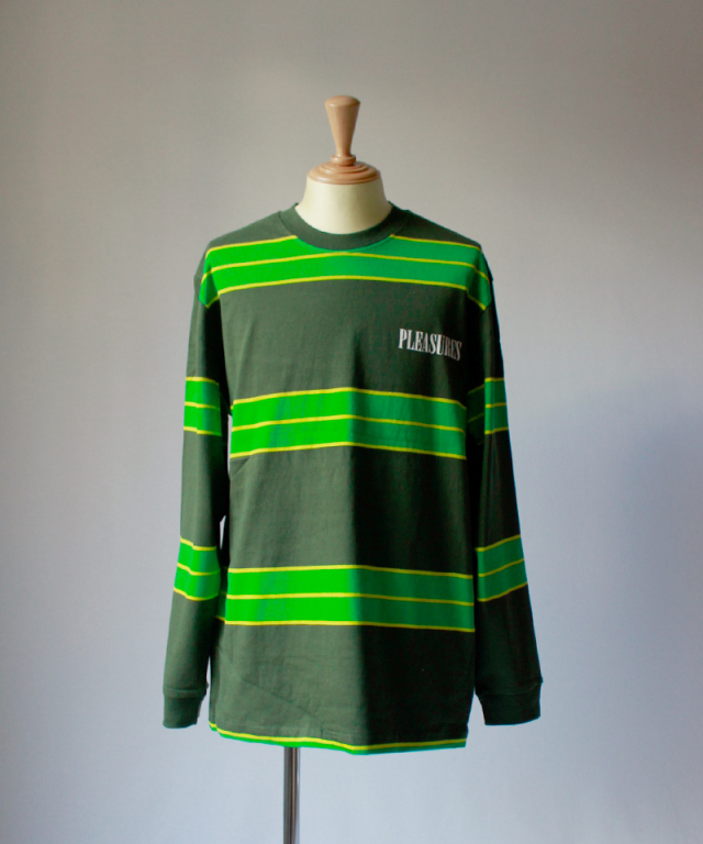 PLEASURES SPIRIT STRIPE L/S T-SHIRT green