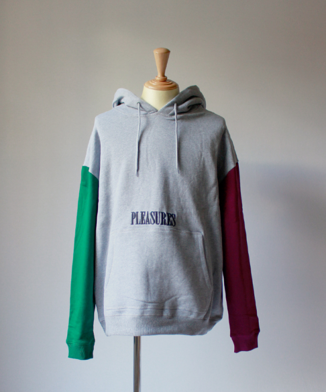 PLEASURES SPLIT COLOR HOODY hether gray