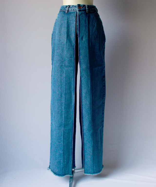 AALTO WIDE DENIM TROUSER WITH FRONT PLEAT 80s blue