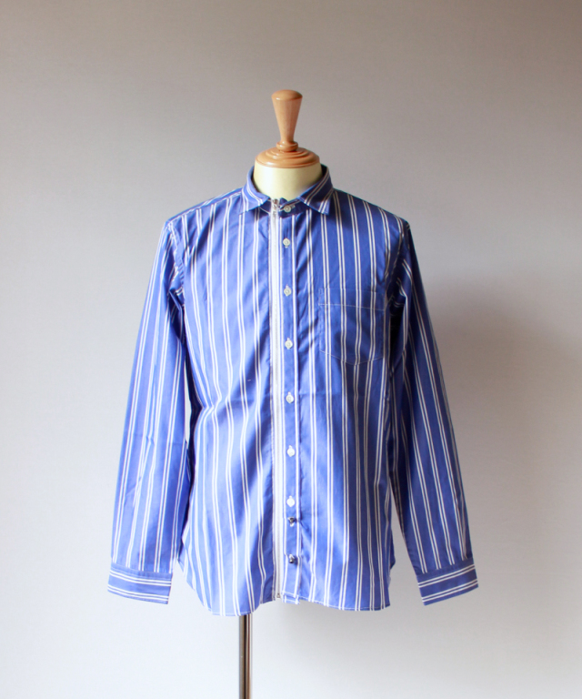 Beautilities UTILITY ZIP SHIRT wide&slim blue stripe