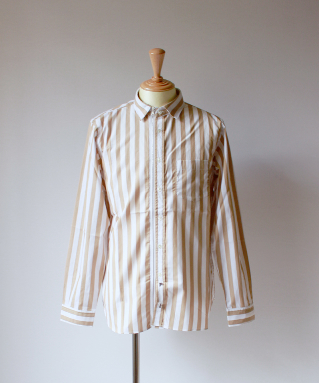 Beautilities UTILITY ZIP SHIRT beige stripe