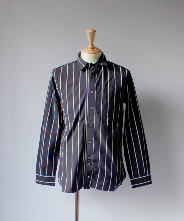 Beautilities UTILITY ZIP SHIRT wide black & slim white stripe