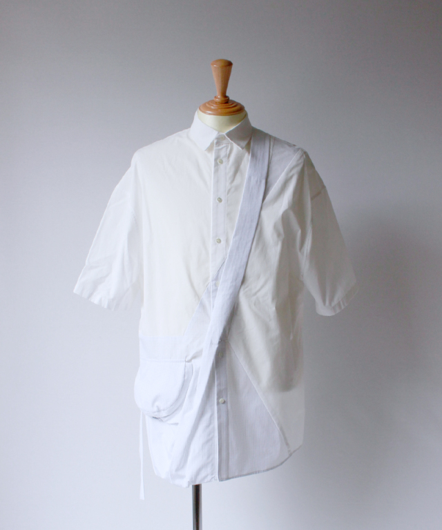 Chalayan CONTRAST SIDE POCKET SHIRT white