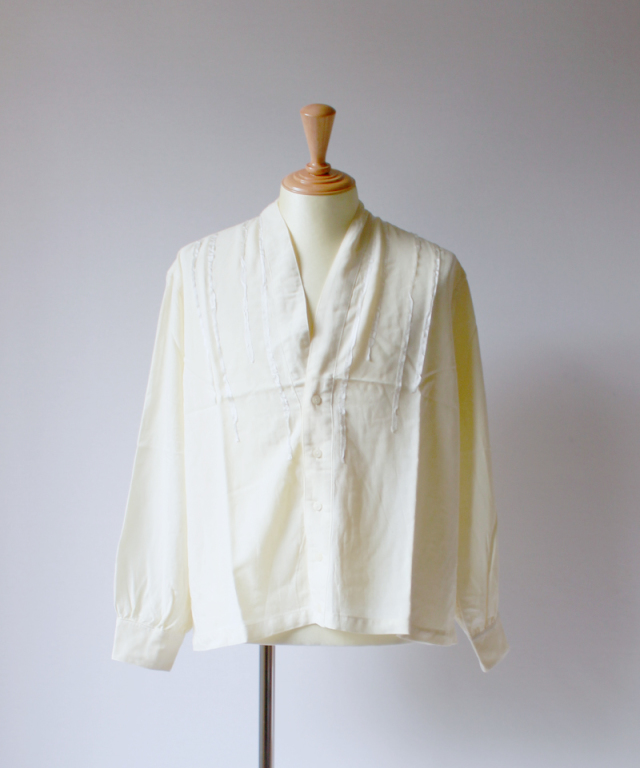 bukht SILK Y NECK SHIRTS off white