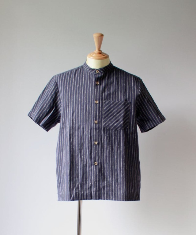 FRANK LEDER STRIPED COTTON / LINEN S/S SHIRT STANDCOLLAR navy