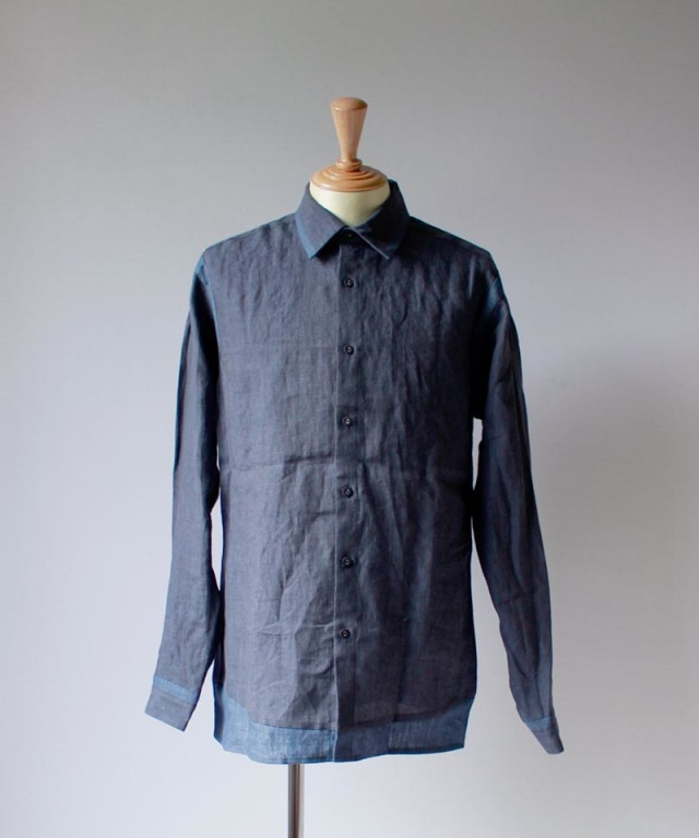 FRANK LEDER LINEN TWO TONE SHIRT navy