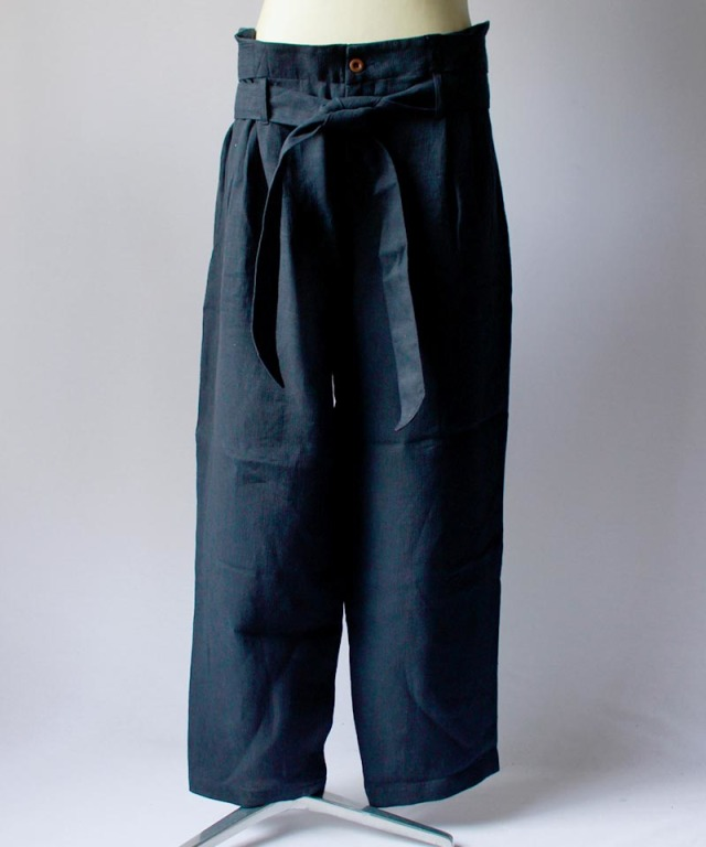 FRANK LEDER LINEN HERRINGBONE WIDE PANTS navy
