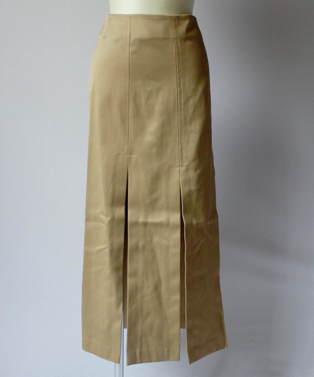 3.1 Phillip Lim LONG SATEEN SKIRT W SLITS olive khaki
