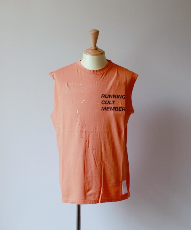 SATISFY CULT MOTH EATEN MUSCLE TEE coral orange
