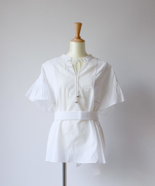 ponti COTTON CAMBRIC BLOUSE white