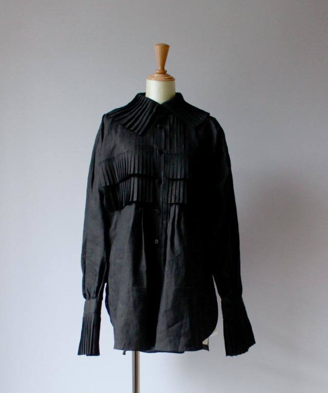 JUN MIKAMI リネンフリルシャツ black