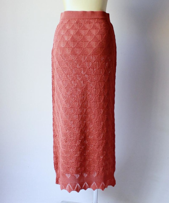 TAN LACY LONG SKIRT orange