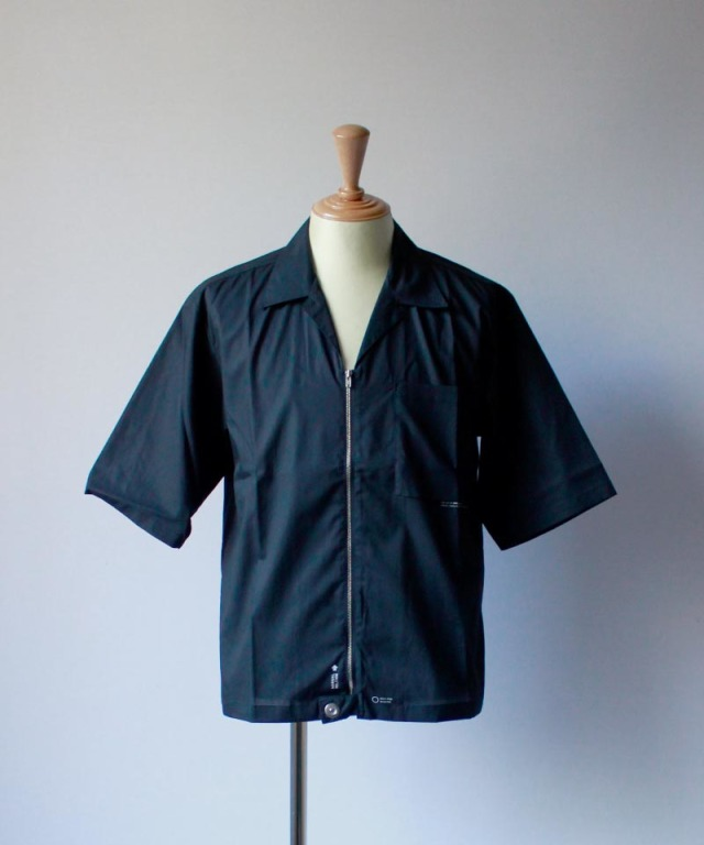PORTVEL OPEN COLLAR SHIRT S/S black