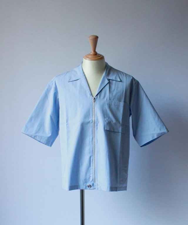 PORTVEL OPEN COLLAR SHIRT S/S sax blue