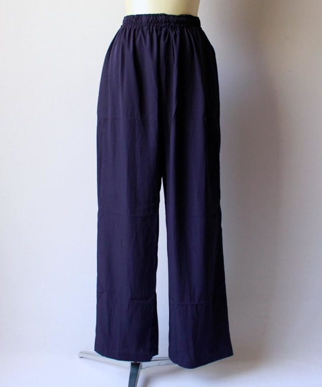 mmooii SILK PANTS navy