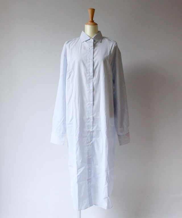 BASERANGE OLE SHIRT DRESS white with stripe