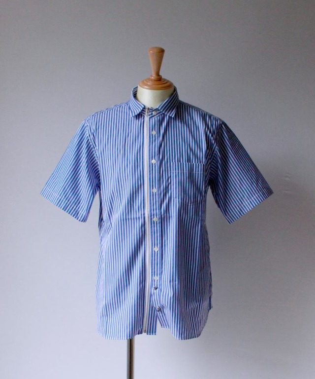 Beautilities UTILITY ZIP SHIRT SHORT SLEEVE blue stripe