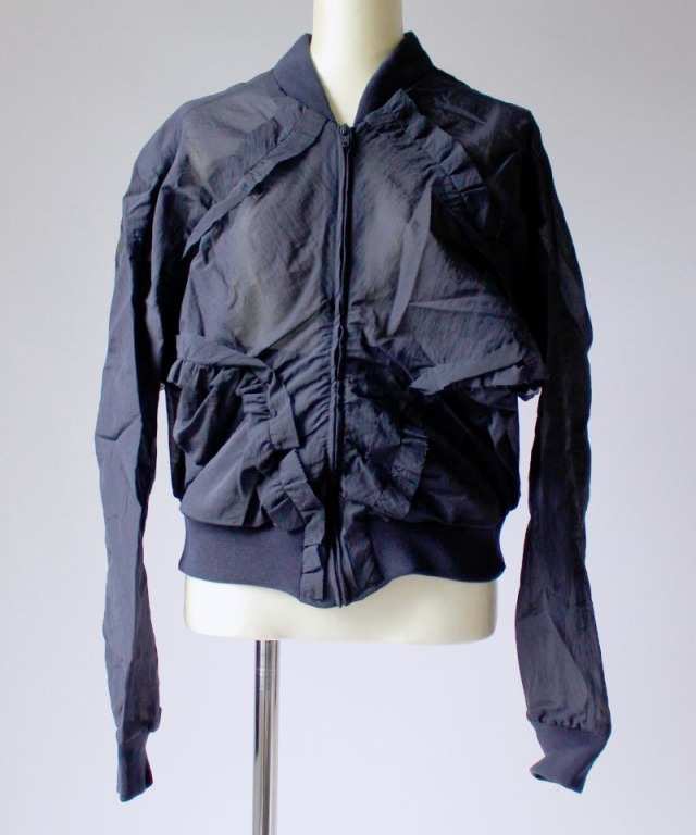 AALTO GATHERED BOMBER JACKET navy