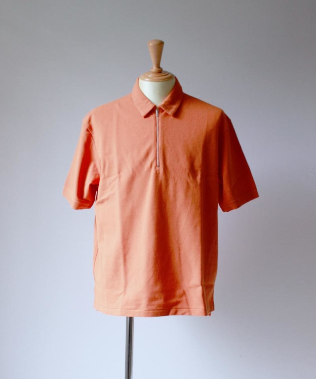 CURLY BRIGHT SS ZIP POLO orange