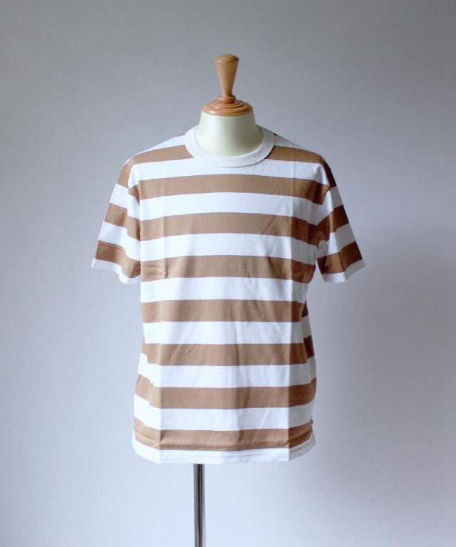 CURLY ADVANCE SS BORDER TEE white/beige
