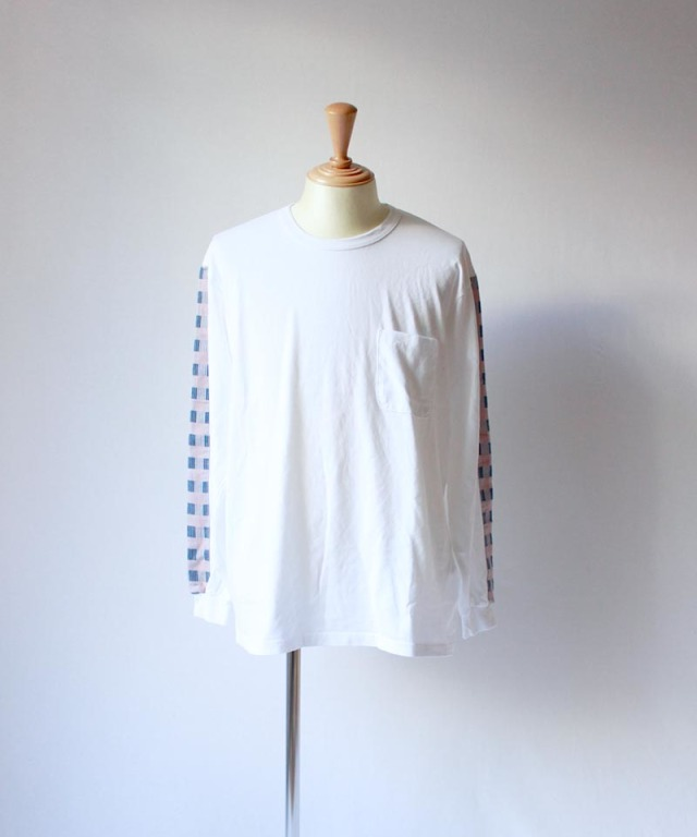 KUON block check l/s tee white