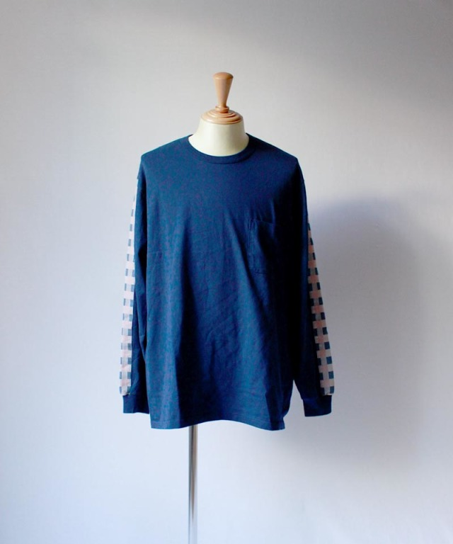 KUON block check l/s tee navy