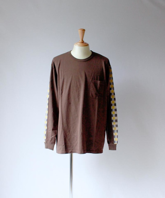 KUON block check l/s tee brown - Mens