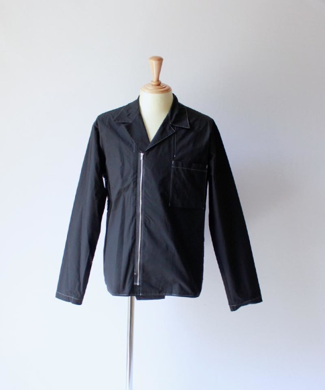 PORTVEL ZIPUP OPEN COLLAR SHIRT Black