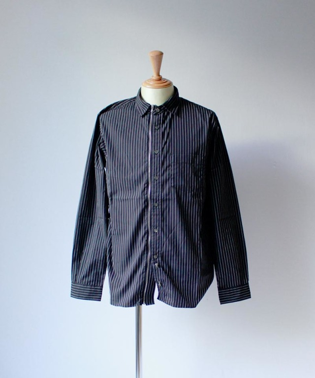 Beautilities Utility Zip Shirt Black x White Pin Stripe