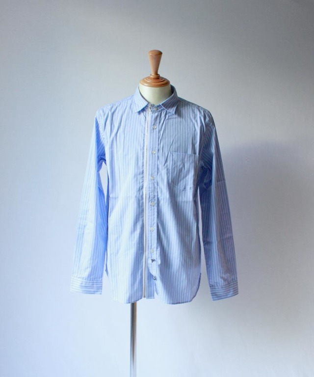 Beautilities Utility Zip Shirt Aqua Stripe