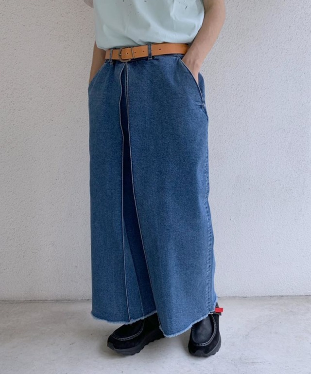 AALTO DENIM WITH PLEAT CROPPED 80S BLUE