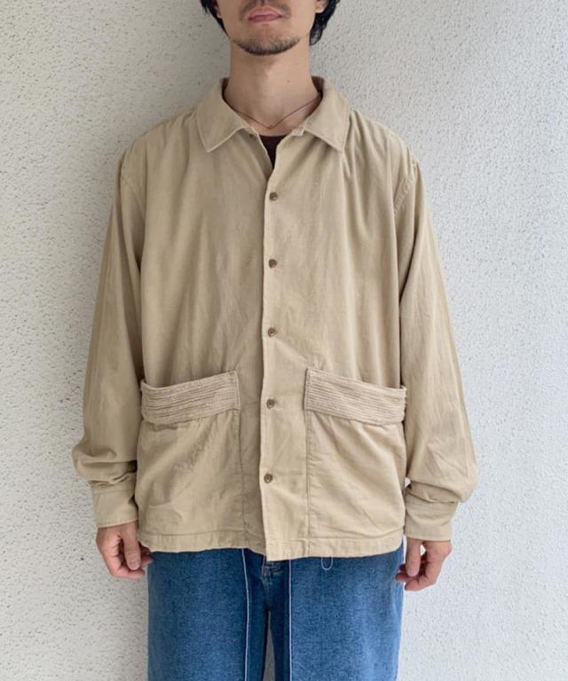 KUON corduroy p/pocket shirts beige