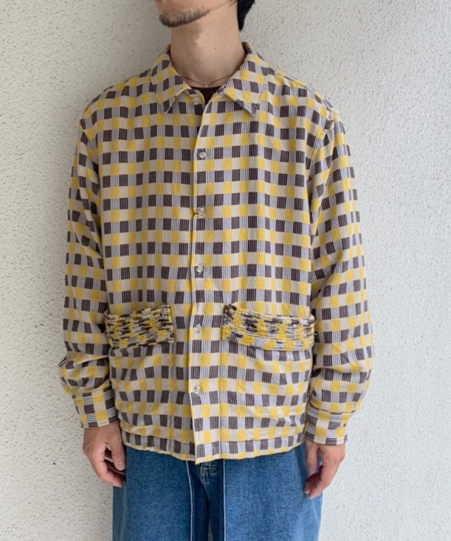 KUON corduroy p/pocket shirts yellow check