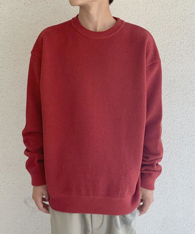crepuscule moss stich L/S sweat Red