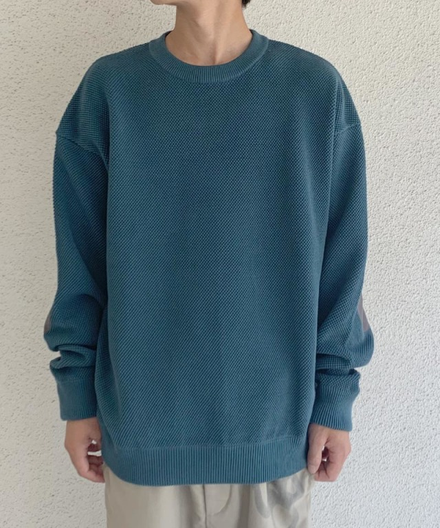 crepuscule moss stich L/S sweat Bluegreen