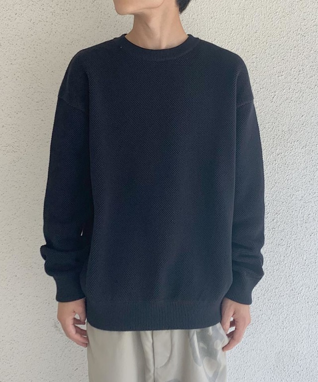 crepuscule moss stich L/S sweat Black