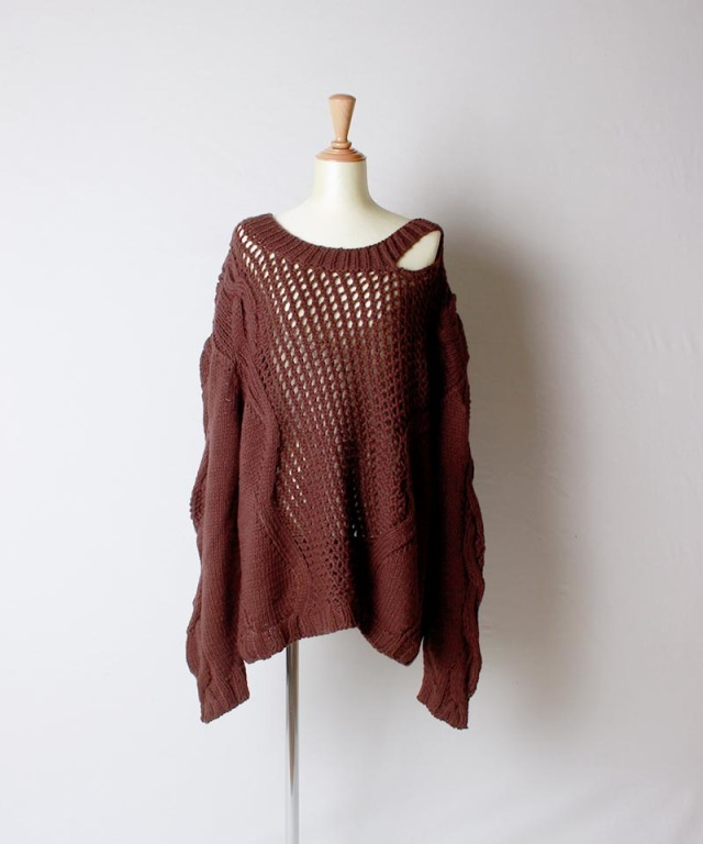JUN MIKAMI cotton knit BROWN