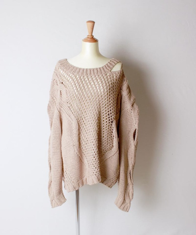 JUN MIKAMI cotton knit BEIGE