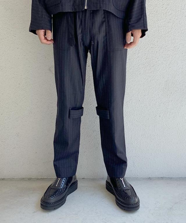 PHINGERIN BONTAGE PANTS WOOL A:ネイビーストライプ