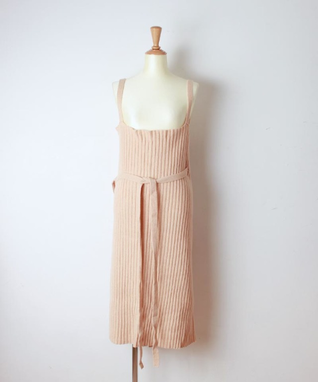 BASERANGE MARU APRON DRESS GRAVEL BEIGE