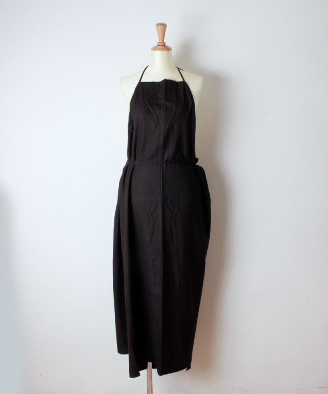 BASERANGE APRON HONDA DRESS BLACK