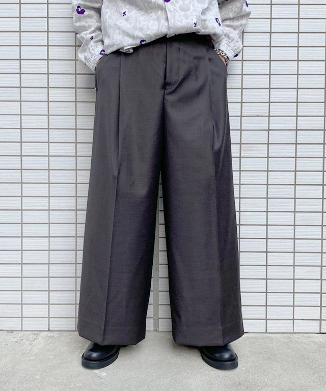 beautiful people wool shark skin wide pants dark brown