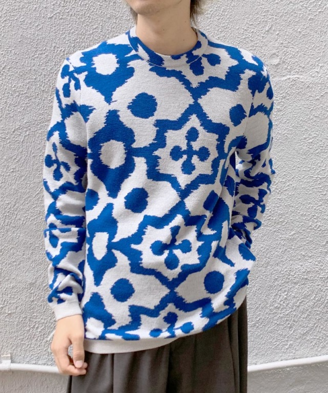Christian Wijnants KADY KNIT OFF WHITE/BLUE IKAT