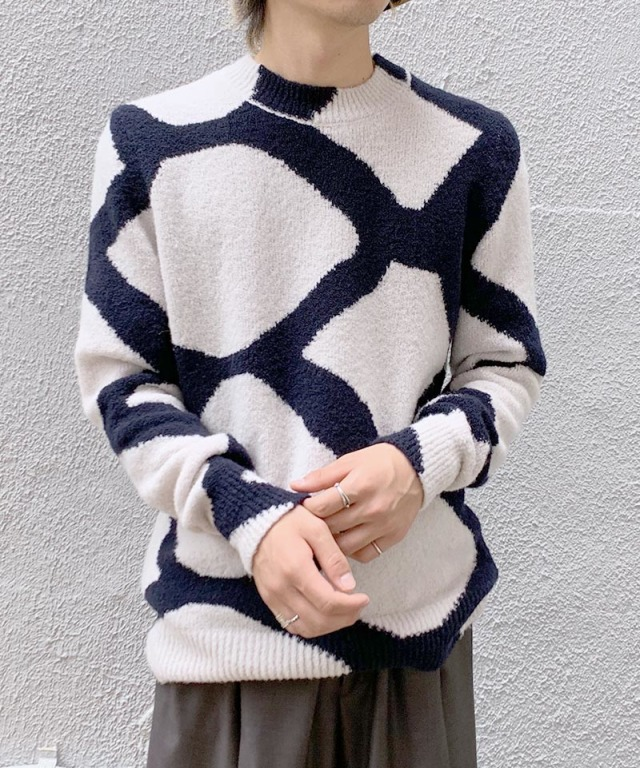 Christian Wijnants KAREL KNIT OFF WHITE/NAVY INTARSIA