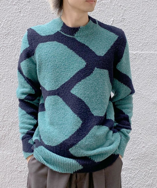 Christian Wijnants KAREL KNIT FOREST/NAVY INTARSIA